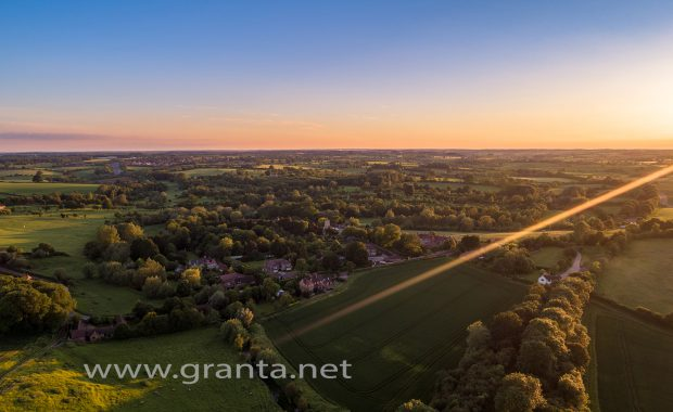 Drone photo of Sunset over Radclive, a small hamlet on the outskirts of Buckingham