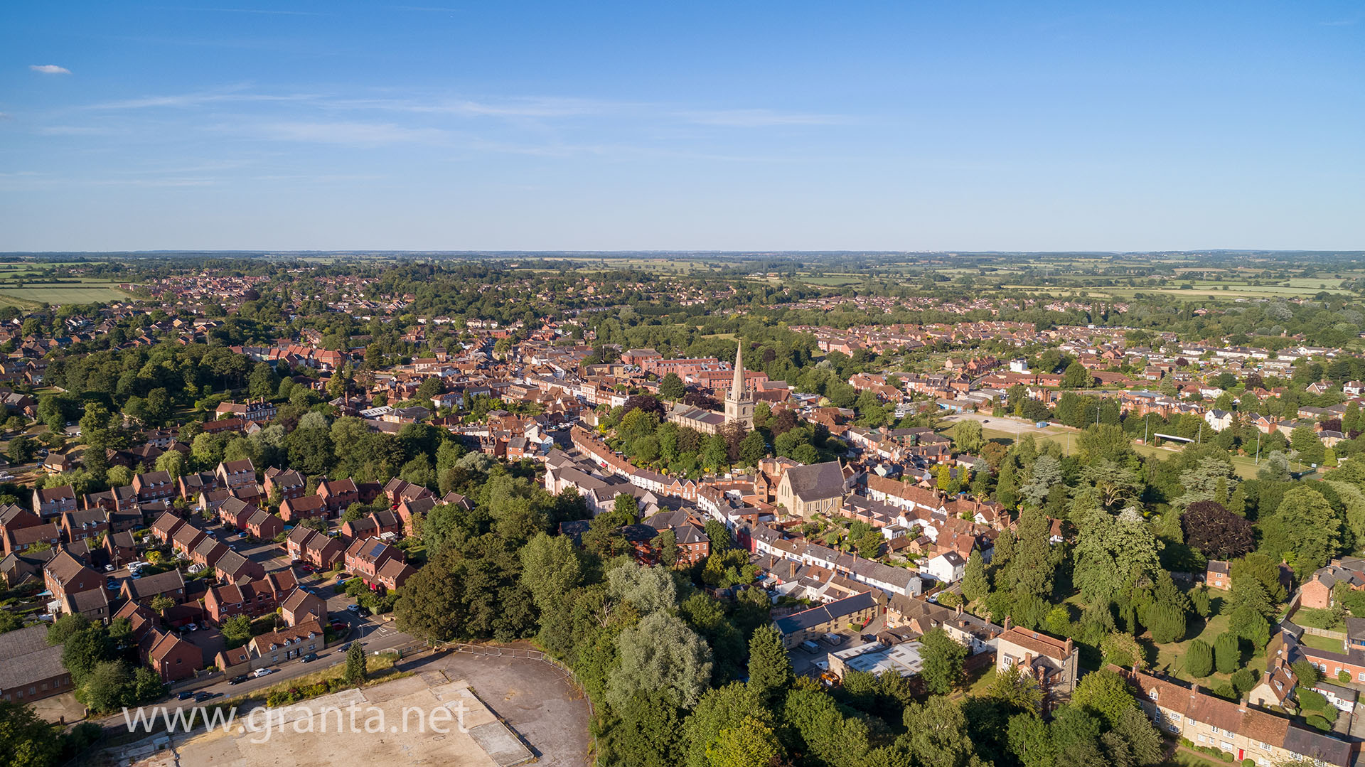 Buckingham old town drone photo