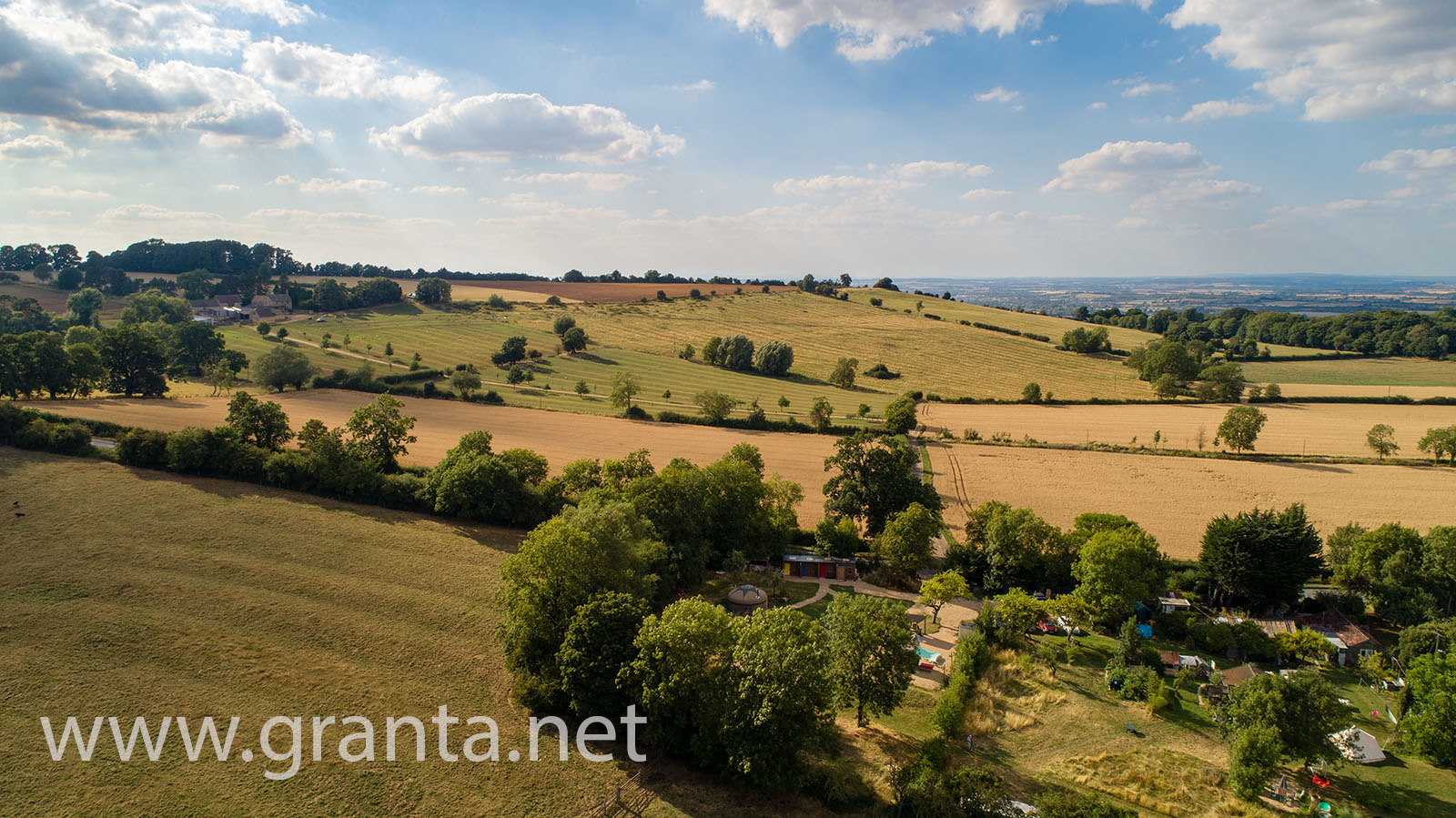 Drone photo of Campden Yurts campsite and the surrounding countryside